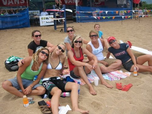Holly, Kim, and the gang on the beach between heats on the North Shore.